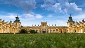 华沙,波兰, 2016年7月1日:皇家Wilanow宫殿在华沙,波兰 在主要门面的看法 库存照片