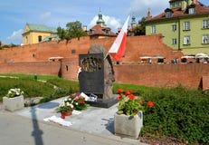 华沙,波兰 军队波兰语的官员难忘的标志`记忆,死了更加下旬的1939年9月17日` 免版税图库摄影