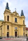 华沙,波兰-圣弗朗西斯六翼天使耻辱方济会修士男修道士天主教会在Zakroczynska街道的在历史 免版税库存照片