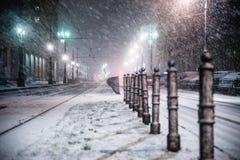 华沙,波兰- 2018年1月19日:一场强有力的雪风暴一夜在华沙 图库摄影