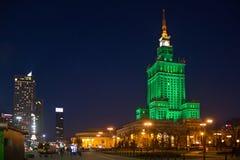 华沙,波兰- 2016年1月01日:劳动人民文化宫和科学的夜视图 库存图片
