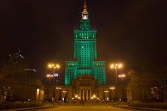 华沙,波兰- 2016年1月02日:劳动人民文化宫和科学的夜视图 免版税库存图片