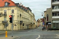 华沙,波兰- 2012年5月12日:历史大厦的看法在华沙首都的老部分和波兰大城市 免版税库存照片