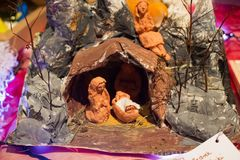 华沙,波兰- 2016年1月01日:圣诞节诞生场面 库存图片