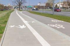 华沙,波兰- 2019年2月6日:在边路旁边的空的自行车道 都市交通方便方式  图库摄影