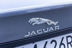 华沙,波兰- 2019年2月6日:在银色汽车的捷豹汽车金属商标标志 库存图片