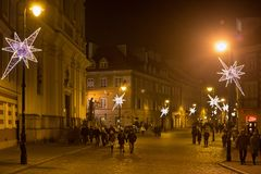 华沙,波兰- 2016年1月01日:庆祝新年2016年在华沙 库存照片