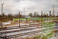 华沙,波兰- 2016年11月29日:现代高速火车在驻地平台 免版税库存图片