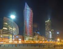 华沙,波兰12月2016年:摩天大楼在波兰首都的中心 库存照片