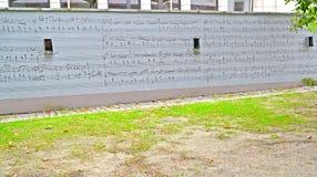 华沙,波兰- 2014年8月27日:有一个乐谱的墙壁 库存图片