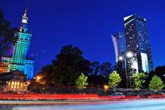 华沙,波兰 2016年9月15日 街市华沙在晚上 免版税库存照片