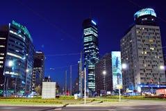 华沙,波兰 2016年9月15日 街市华沙在晚上 库存图片