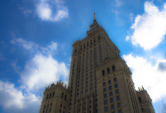 华沙,波兰 鸟瞰图劳动人民文化宫和科学和街市企业摩天大楼,市中心 库存图片