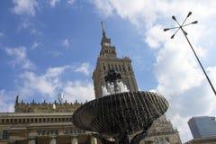 华沙,波兰 鸟瞰图劳动人民文化宫和科学和街市企业摩天大楼,市中心 库存照片