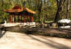 华沙 中国庭院在Lazienki皇家公园 库存图片