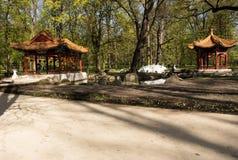 华沙 中国庭院在Lazienki皇家公园 免版税库存照片