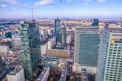 华沙/波兰- 02 17 2016年:在现代建筑学大厦的全景 免版税图库摄影