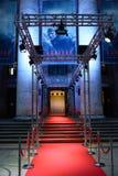 华沙/波兰- 04 23 2018年:对节目的隆重的入口在戏曲剧院 世界` Sobibor `首映  免版税图库摄影