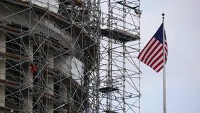 华盛顿国会大厦旗子风bootom视图纪念碑 影视素材
