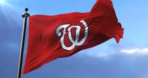 华盛顿国民旗子,美国职业棒球队,挥动-圈 影视素材