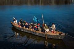 华盛顿将军准备横渡特拉华河 免版税库存照片
