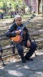 华盛顿广场庭院的音乐家吉他弹奏者 库存图片