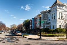 华盛顿特区住宅建筑学  五颜六色的连栋房屋 库存图片