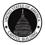 华盛顿特区国会大厦,美国 地标邮票标签 免版税图库摄影