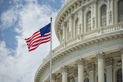 华盛顿特区在多云天空的国会大厦细节 库存照片
