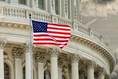 华盛顿特区在多云天空的国会大厦细节 免版税图库摄影