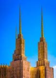 华盛顿特区摩门教堂的尖顶,在肯辛顿, Maryla 免版税库存照片