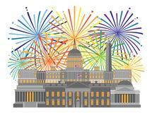 华盛顿特区纪念碑地标和烟花导航例证 向量例证