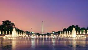 华盛顿特区纪念碑,喷泉,美国 免版税库存照片