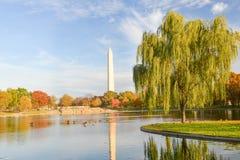 华盛顿特区,有华盛顿纪念碑的宪法庭院在秋天 库存图片