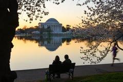 华盛顿特区,杰斐逊纪念品在春天 库存照片