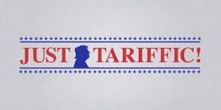 华盛顿特区,美国, 2018年7月4日-美国总统的例证喜欢与贸易战和美国上升国际关税 免版税库存图片