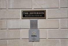华盛顿特区, 2017年7月4日:从华盛顿哥伦比亚特区美国的旅馆牌 免版税库存照片