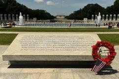 华盛顿特区, - 2018年6月01日:在洗涤的二战纪念品 库存照片