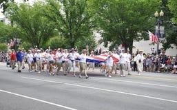华盛顿特区, 2017年7月4日:7月4日游行的游行从华盛顿哥伦比亚特区美国 库存图片