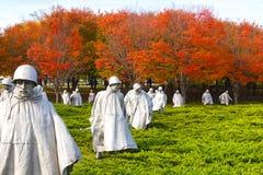 华盛顿特区- 2014年11月09日:纪念韩战的退伍军人 免版税库存照片