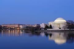 华盛顿特区- Thomas Jefferson纪念品在晚上 免版税库存照片