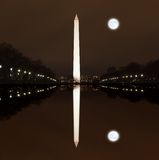 华盛顿纪念品在晚上 库存图片