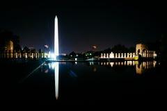 华盛顿纪念碑和二战纪念反射  库存照片