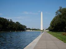 华盛顿纪念碑和反射水池在一个清楚的夏天da 库存图片