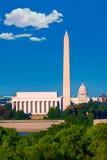 华盛顿纪念碑国会大厦和林肯纪念堂 免版税图库摄影