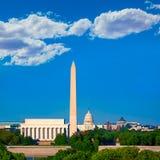 华盛顿纪念碑国会大厦和林肯纪念堂 图库摄影