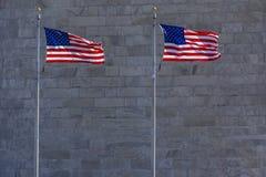 华盛顿纪念碑旗子细节 库存照片