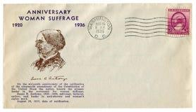 华盛顿D C 美国- 1936年8月26日:美国历史信封:有封印周年妇女参政权的苏珊B盖子 安东尼, 免版税库存图片