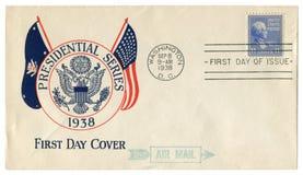 华盛顿D C 美国- 1938年9月8日:美国历史信封:有封印总统系列的盖子,徽章,postag 免版税库存图片
