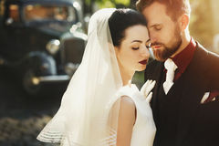 华美的典雅的拥抱新娘和时髦的新郎,轻拍接触 免版税库存图片